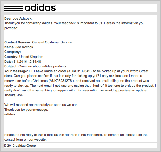adidas customer service uk email address